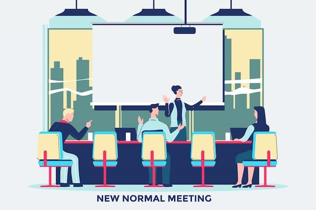 コロナウイルスコビッド-19パンデミック後のオフィスで会議する新しい通常行動の人々 Premiumベクター