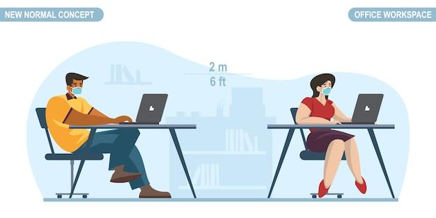 新しい通常のコンセプト。事務室での社会的距離。人オフィスワーカーの男性と医療フェイスマスクを着ている女性。コロナウイルスまたはcovid-19のパンデミックを防止する距離を保ちます。 Premiumベクター