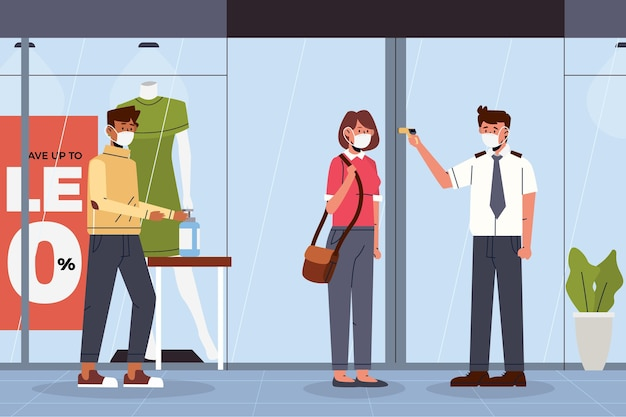 New normal at the entrance of shops Free Vector