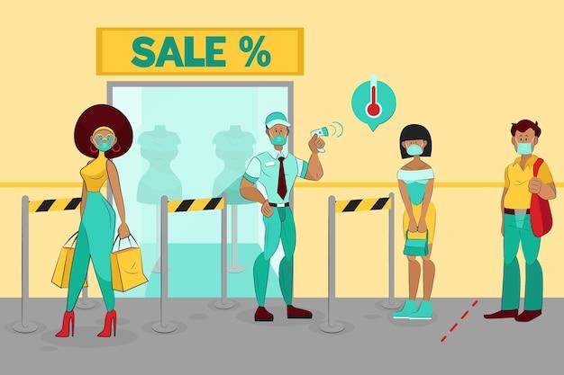 Nuova normalità all'ingresso dei negozi Vettore gratuito