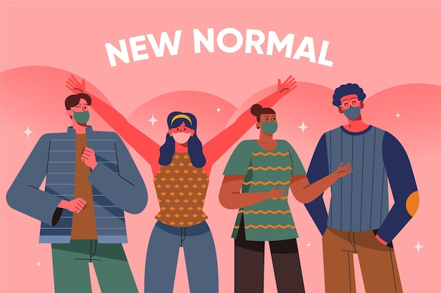 マスクを身に着けている新しい通常の友人グループ 無料ベクター