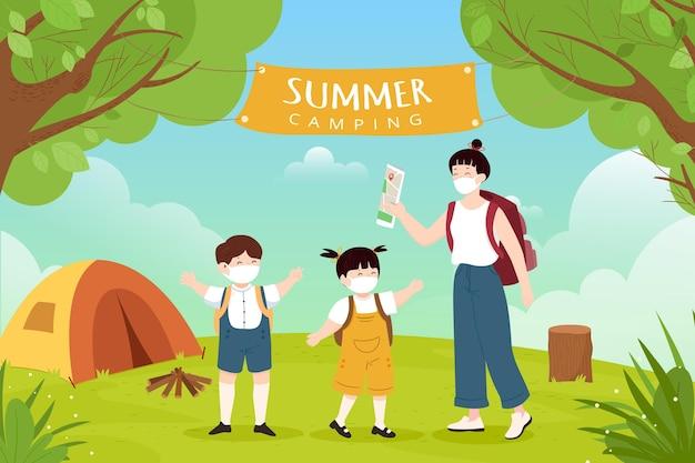 人との夏のキャンプでの新しい通常 Premiumベクター