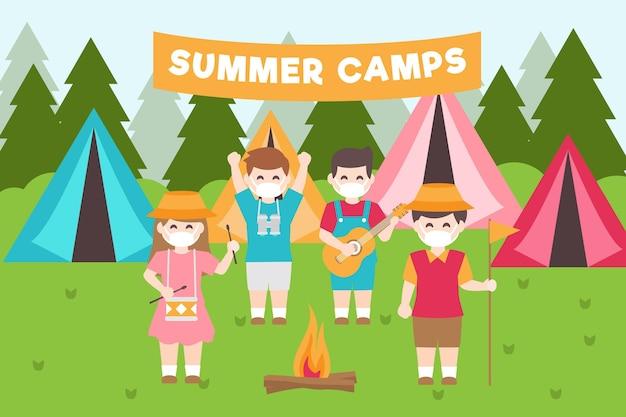 Новый нормальный в летних лагерях Бесплатные векторы
