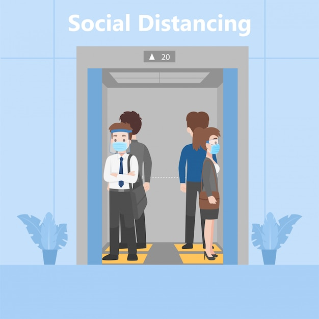 Новая нормальная жизнь люди в бизнес нарядах социального дистанцирования стоя в лифте на след знак Premium векторы