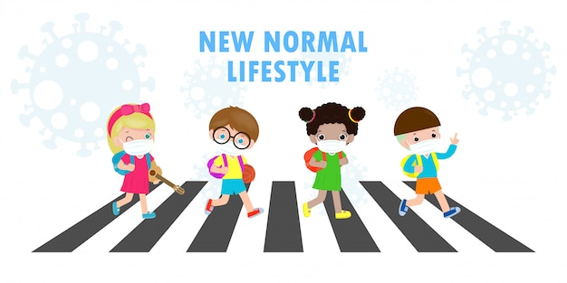 Новая концепция нормального образа жизни. снова в школу, милые, разнообразные. дети по пешеходному переходу и студенты разных национальностей в медицинских масках во время коронавируса или ковид-19. Premium векторы