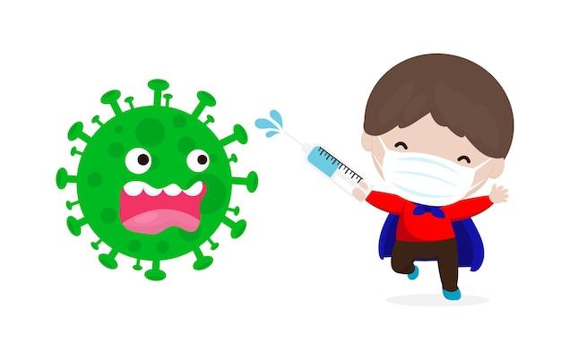 Новая концепция нормального образа жизни коронавирус (2019-ncov) мультипликационный персонаж супергерой атака covid-19 Premium векторы