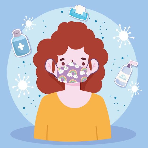 新しい通常のライフスタイル、保護マスク予防covid19病気ベクトルイラストを持つ若い女性 Premiumベクター
