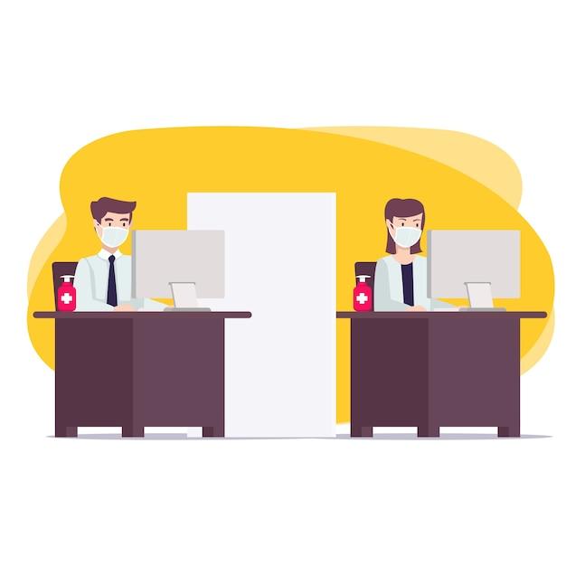 Новая концепция обычного офиса для целевой страницы, веб-сайта и многого другого. новая привычка во время пандемии, когда рабочие поддерживают протоколы здоровья Premium векторы