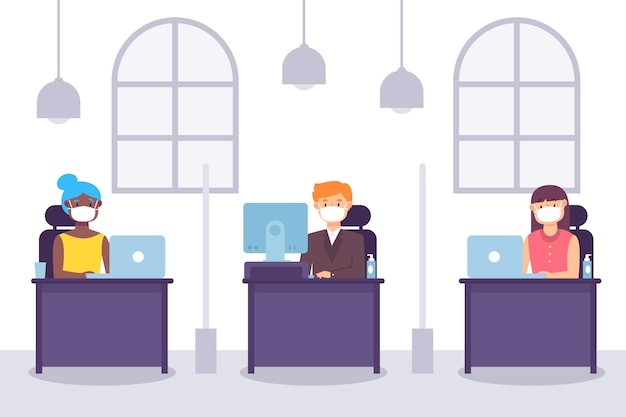 New normal at the office concept Free Vector