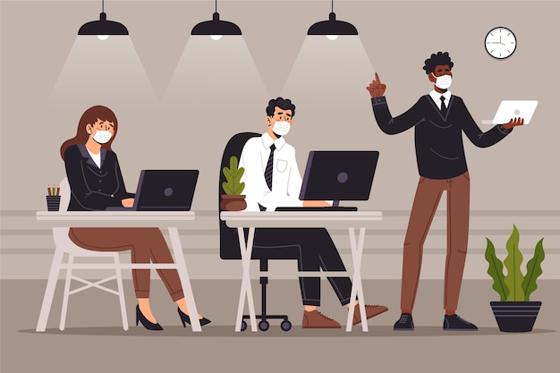 Free Vector | New normal at the office concept