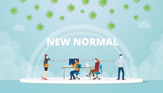 Новая нормальная ситуация баланса работы в офисе с маской и концепцией социальной дистанции с современной плоской иллюстрацией стиля Premium векторы