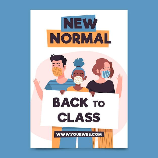 New normal poster template illustrated Free Vector