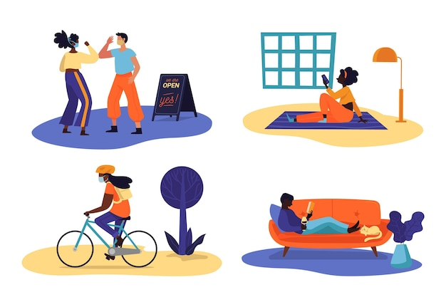 New normal scenes collection Free Vector