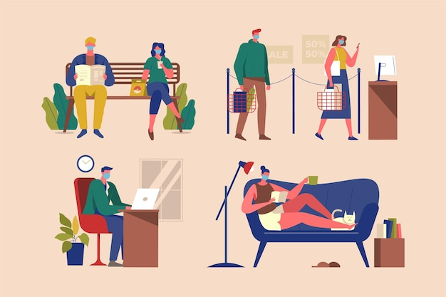 New normal scenes of people lives Free Vector