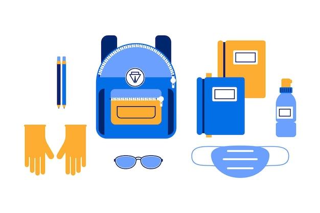 Набор новых обычных школьных принадлежностей Бесплатные векторы