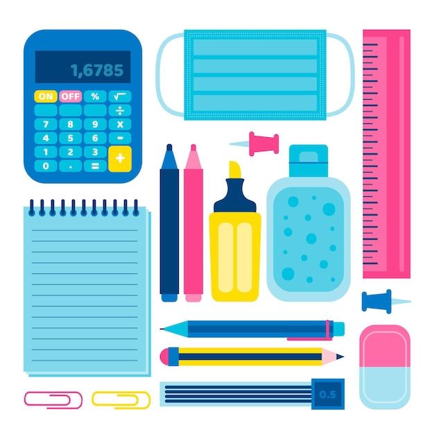 Nuove normali forniture scolastiche Vettore gratuito