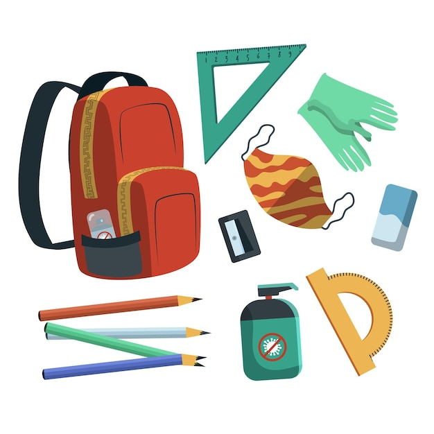 New normal school supplies Free Vector
