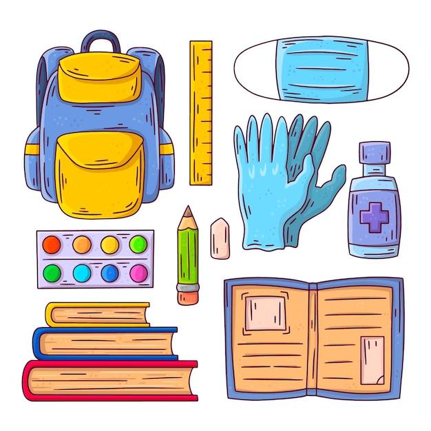 Новые обычные школьные принадлежности Бесплатные векторы