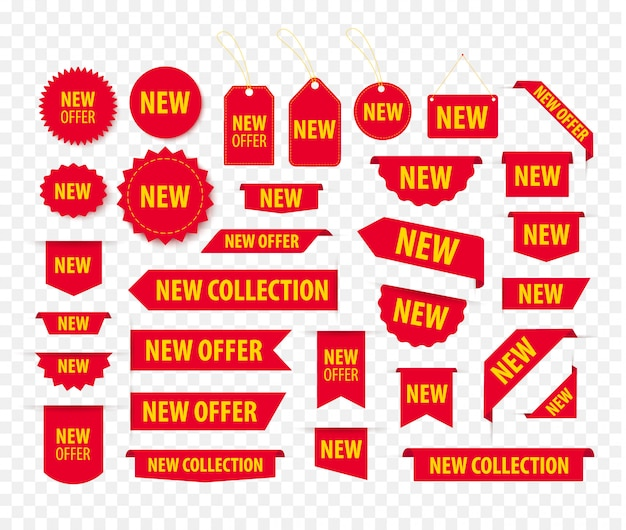 새로운 제안 빨간 태그 세트, 가격표 및 배너. 북마크 및 배지 템플릿. 제공되는 제품 스티커. 프로모션 코너에 위치한 요소. 프리미엄 벡터