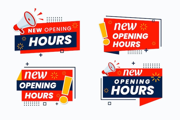 Nuova raccolta di segni di orari di apertura Vettore gratuito