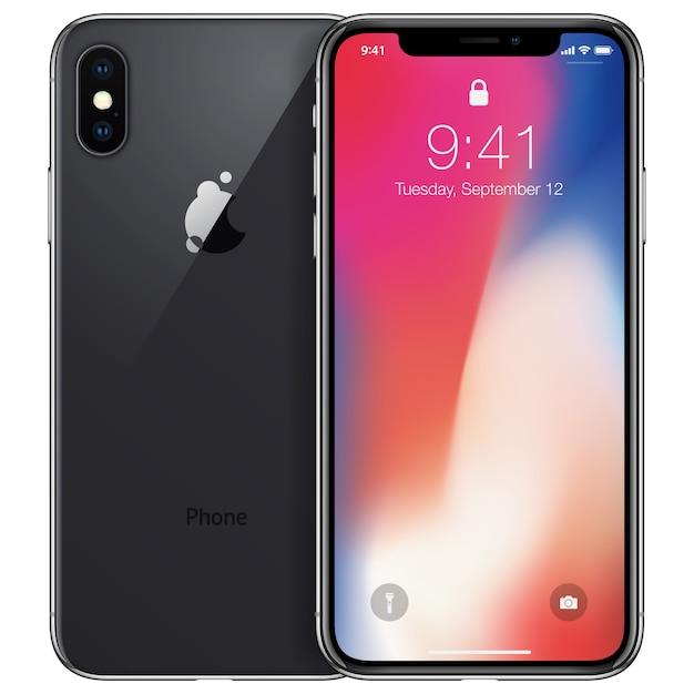 흰색 배경에 고립 된 새 전화 전면 및 검은 색 후면 카메라 측면 드로잉 형식 프리미엄 벡터
