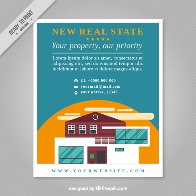 Bien-aimé New real estate flyer in flat design Vector | Free Download KR79