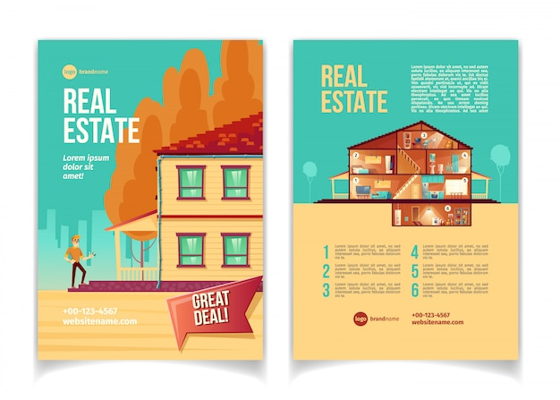 New real estate object cartoon advertising brochure, flyer with happy man standing on cottage Free Vector