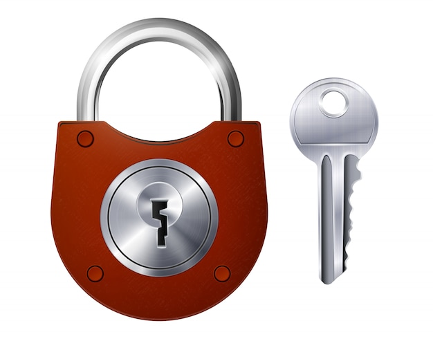 New red padlock and metallic key isolated decorative icons on white  realistic Free Vector