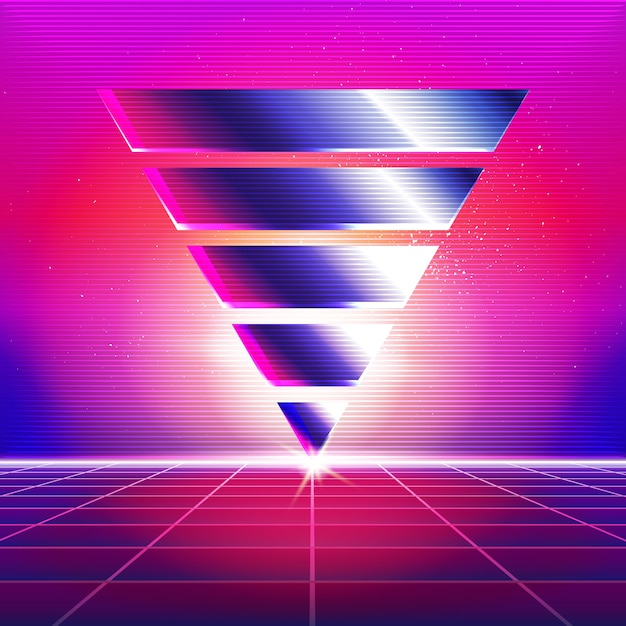 New retro wave background  synthwave retro design and