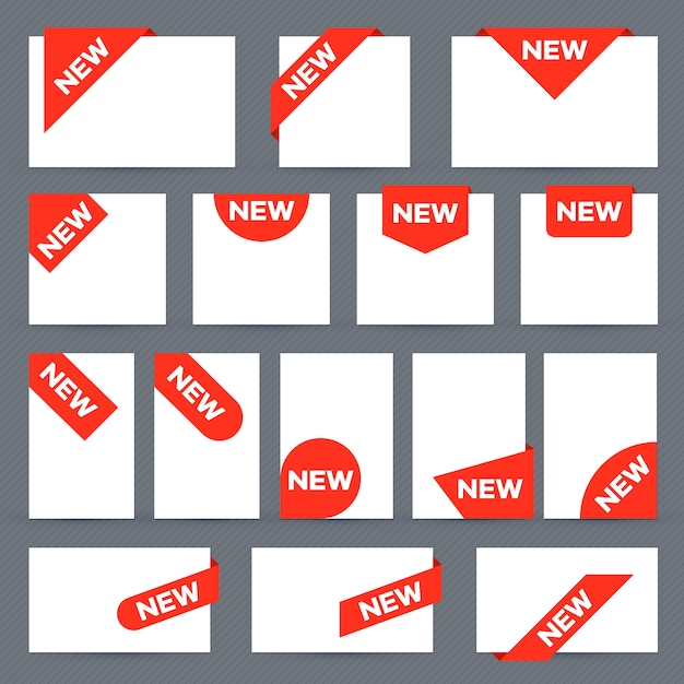 New ribbon labels. corner banner, new tag label and present buttons set Premium Vector