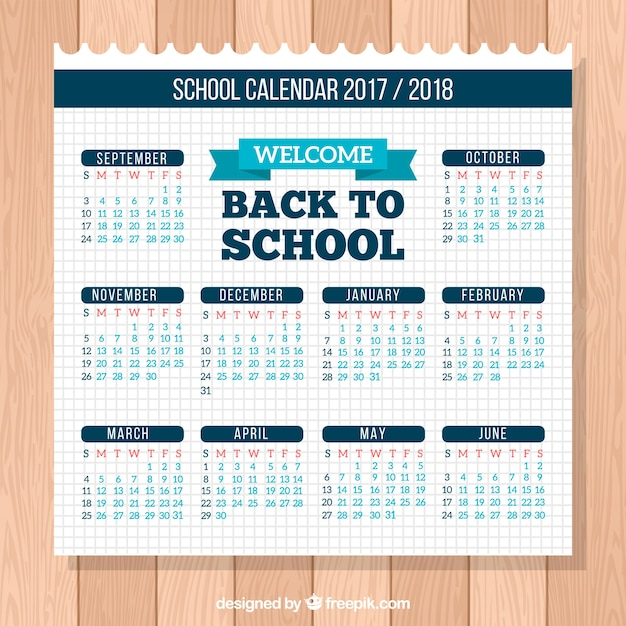 New school calendar on notebook paper