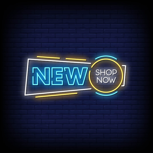 New shop now neon signs style text vector Premium Vector