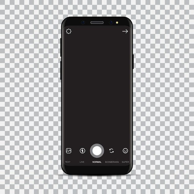 New smartphone with camera application. Premium Vector