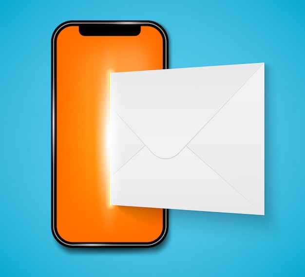 New sms or email notification on mobile phone. Premium Vector