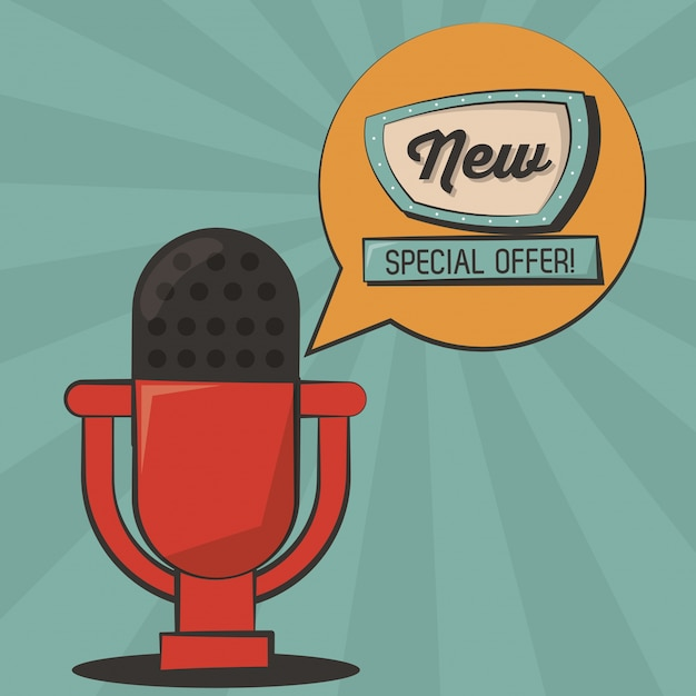 New special offer microphone vintage poster Premium Vector