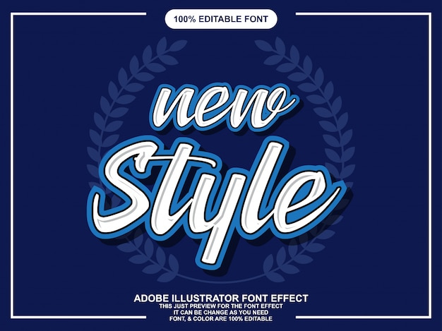 New styles script editable text effect Premium Vector