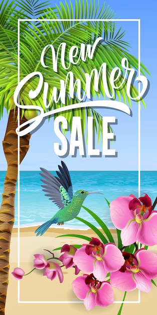 New summer sale lettering in frame with sea beach and hummingbird. Free Vector