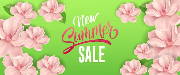 New summer sale lettering. Seasonal banner with\ pink flowers on green background.