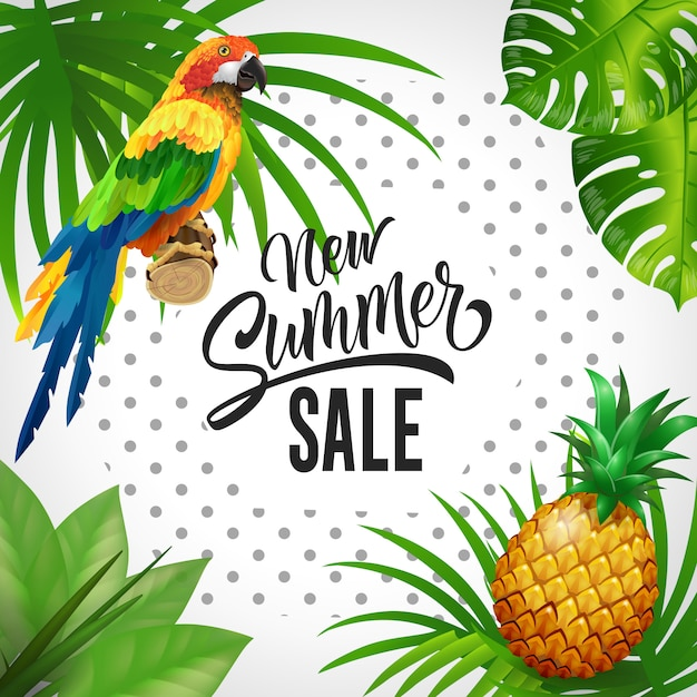 New summer sale lettering. Tropics background with leaves, parrot and pineapple. Free Vector