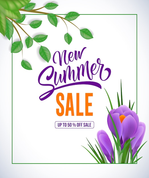 New summer sale up to fifty percent off sale lettering. Free Vector