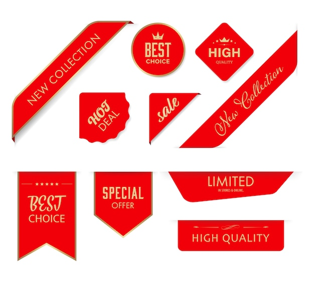 New tag ribbon and banner vector red badges  Vector