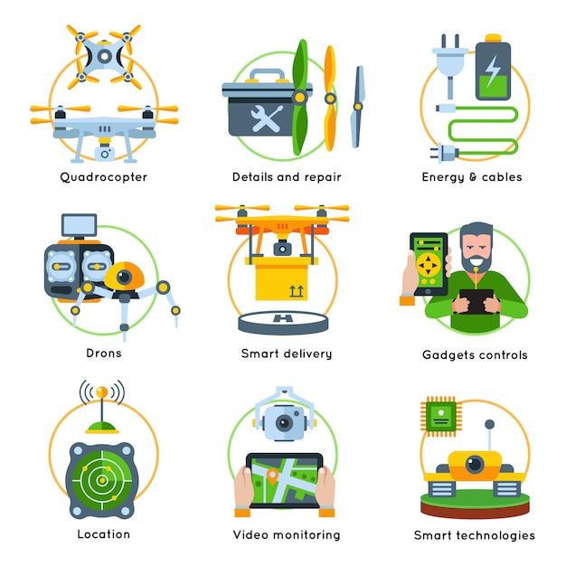 新しい技術コンセプトクリップアートセット、エネルギーケーブル、スマート配信ロケーションガジェット、コントロールの説明 無料ベクター