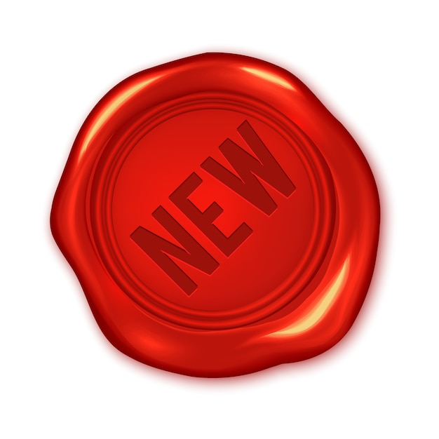 벡터 빨간색 왁 스 물개 흰색 절연에 새 텍스트 프리미엄 벡터