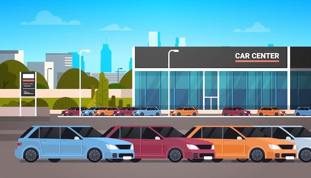 Новые автомобили на автосалоне, здание автосалона Premium векторы