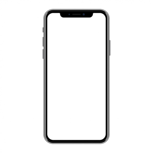 New version of black smartphone with blank white screen Premium Vector