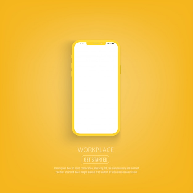 New version of yellow smartphone with blank white screen. Premium Vector