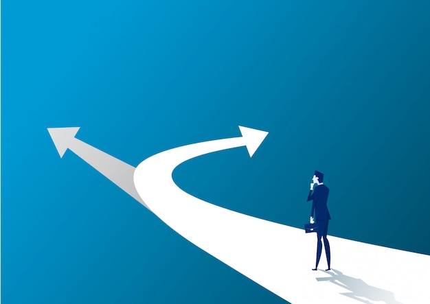 New way concept. beginning journey adventures and opportunities. businessman on road outdoor. illustration Premium Vector