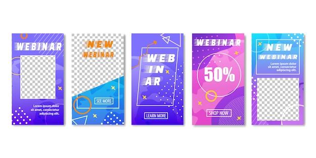 New webinar with big discounts. online education. Premium Vector