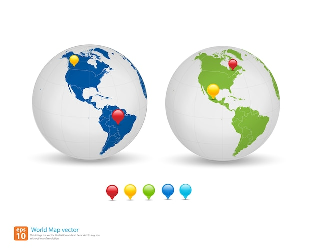 New world map with globe and pin marker location Premium Vector