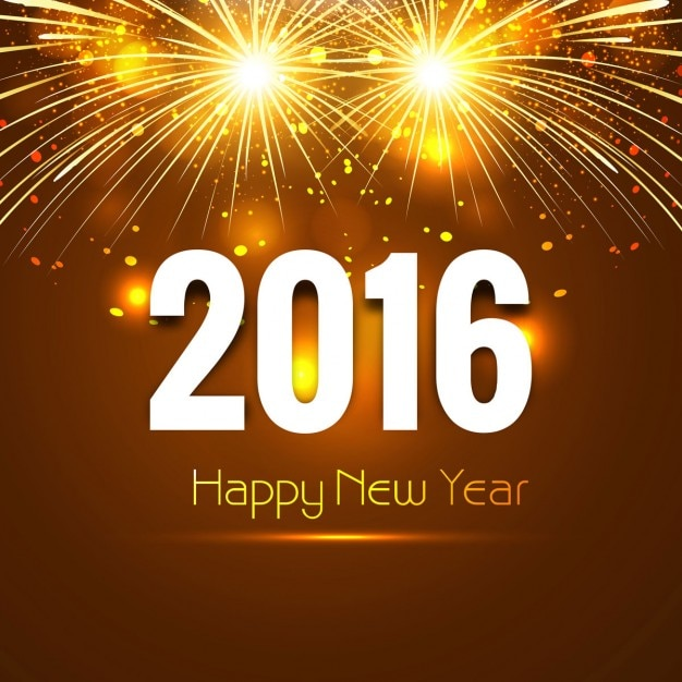 new year 2016 card with fireworks free vector